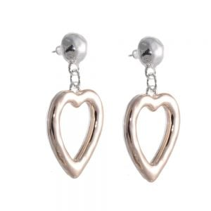 Statement Fashion Jewellery: Hammered Silver Semi-Sphere and Chunky Rose Gold Heart Stud Drops