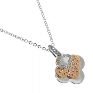 Rue B Fashion Jewellery:  Silver Necklace with Mixed-Metal Triple Layered Flower Pendants and Crystal Detailing