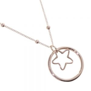 Beautiful Fashion Jewellery: Delicate Beaded Chain Rose Gold Necklace with Rose Gold Circle and Star Pendant