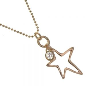 Beautiful Fashion Jewellery: Bobbly Rose Gold Chain with Large Asymmetric Star and Crystal Pendant