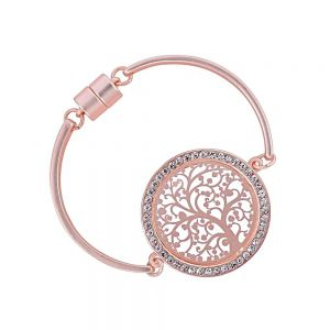 Sparkly Fashion Jewellery: Matt Rose Gold Magnetic Bangle with Elaborate Tree of Life Design