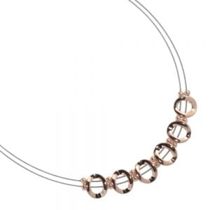Magnetic Costume Jewellery: Silver and Rose Gold Wire Necklace with Repeated Circle Motif