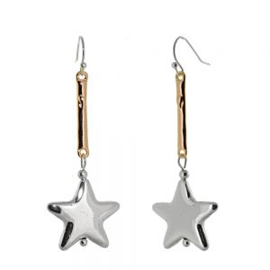 Beautiful Fashion Jewellery: Rose Gold Stick and Silver Star Drop Earrings