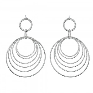 Statement Fashion Jewellery: Long Earrings with Dangly Diamond-Cut Wire Circles