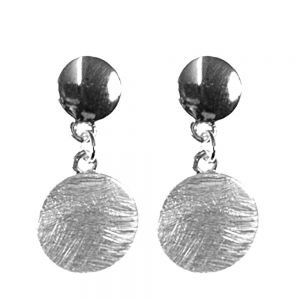 shiny and scratched double disc drop earrings in silver finish