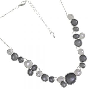Fun Fashion Jewellery: Delicate Silver Chain Necklace with Dark Grey and White Organic Circle Pendants (M418)
