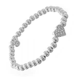 Silver Bracelet with Crystal Heart