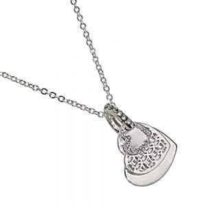 Rue B Fashion Jewellery:  Silver Necklace with Triple Layered Heart Pendants and Crystal Detailing