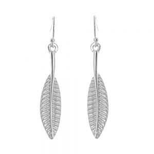 Contemporary Fashion Jewellery:  Elongated Matt Silver Concave Leaf Dangly Earrings
