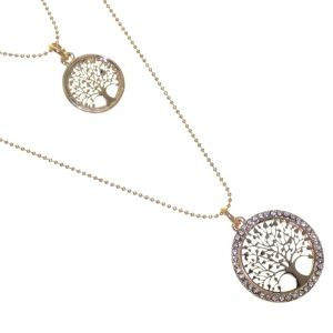 Pretty Fashion Jewellery: Double Layered Rose Gold Necklace with Crystal Outline Tree of Life Pendants