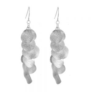Silver Disc Drop Earrings rue b york jewellers