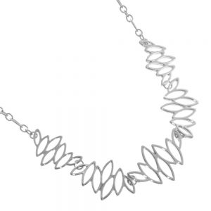 Beautiful Fashion Jewellery: Silver Geometric Statement Necklace with Pointed Ovals Design (R273)