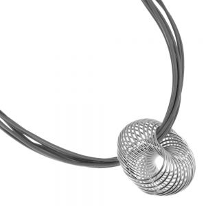 Magnetic Costume Jewellery: Grey Leather Necklace with Statement Curving Silver Pendant