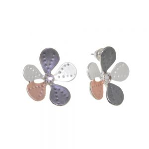 Nature-Inspired Fashion Jewellery: 2cm Daisy Studs with Matt Grey, Coppery Pink and White Petals and Crystal Centres