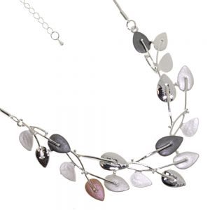 New Mixed Range: Silver and Rose and grey leaf Design Statement Necklace