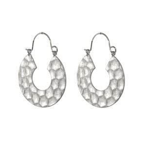 Contemporary Fashion Jewellery: Chunky Worn Silver Hammered Hoop Earrings (3.2cm x 2.4cm) (I14)s)