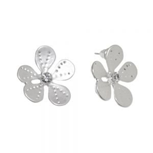 Nature-Inspired Fashion Jewellery: 2cm Daisy Studs with Dotty Matt White-Silver Petals and Crystal Centres