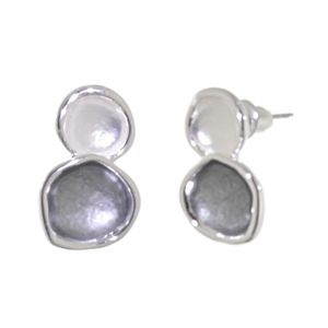 Modern Fashion Jewellery: Double Circle Earrings in Matt metallic Grey and White with Shiny Silver Outline