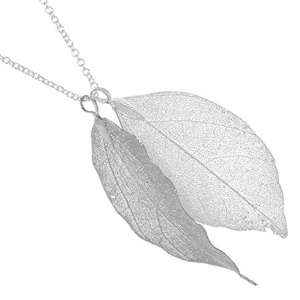 Gift Boxed Fashion Jewellery: Silver Plated REAL Bay Leaf Necklace (size will vary from picture) (M496)