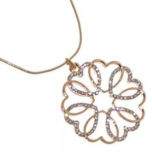 Beautiful Fashion Jewellery: Rose Gold and Crystal Flower Pendant Made Up of Interlinking Hearts (R66)