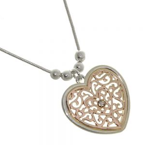 Beautiful Fashion Jewellery: Simple Silver Chain With Rose Gold Filigree Heart Pendant with Crystal Dot