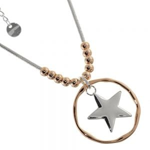 Multi-Tone Fashion Jewellery: Silver Star Pendant on Silver Chain with Rose Gold Beads and Circle Outline