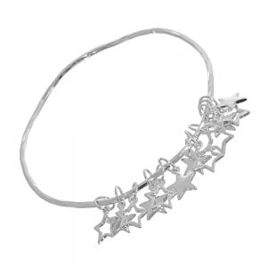 Quirky Costume Jewellery: Thin Silver Tone Bangle with Multiple Star Charms