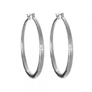 Hooped Earrings with Matt Silver Finish