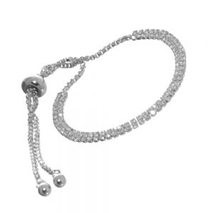 Gracee Fashion Bracelet: Delicate Adjustable Drawstring Bracelet with Two Rows of Tiny Crystals (GR111)