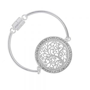 Sparkly Fashion Jewellery: Silver Bangle with Elaborate Tree of Life Design