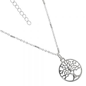 Nature-Inspired Fashion Jewellery: Delicate Chain Necklace with Swirly Branch and Cut-Out Tree of Life Design