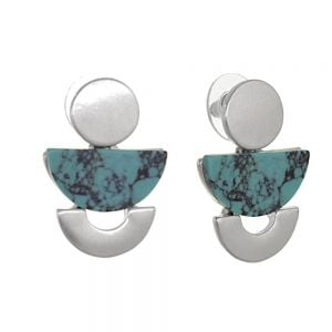 Fashion Jewellery: Silver and Turquoise Geometric Stud Drop Earrings (3cm x 2cm) (M588)s)