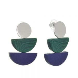 Contemporary Fashion Jewellery: Navy and Green Wooden Geometric Earrings (4.1cm x 2.8cm) (M590)bg)