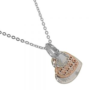 Rue B Fashion Jewellery:  Silver Necklace with Mixed-Metal Triple Layered Heart Pendants and Crystal Detailing