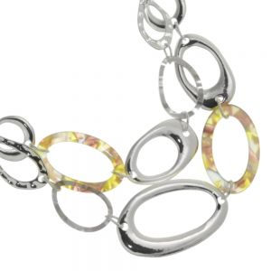 Accent of Colour Fashion Jewellery: Short Silver Necklace With Two Row Metal Resin Link Ovals (M527)