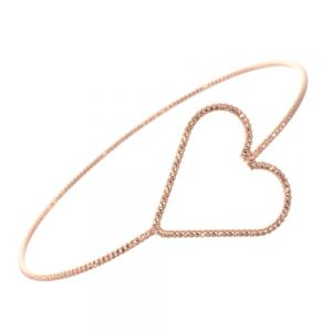 Simple Fashion Jewellery: Rose Gold Diamond Cut Wire Bangle with Open Sideways Heart Design