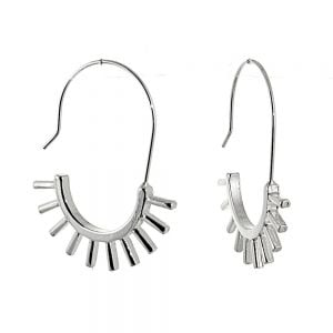 Contemporary Fashion Jewellery: Long Hooked Earrings with Spiky Half Hoop Design (4cm x 3.3cm) (M584)