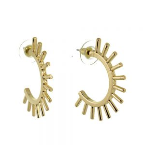 Contemporary Fashion Jewellery: Gold Spiky Half Hooped Stud Earrings (35mm x 25mm) (M585)g)