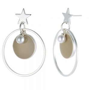 Elegant Fashion Jewellery: Silver and Khaki Circle Earrings with Star and Pearl Detail (4cm x 2.8cm) (YK286)