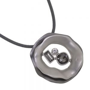 Unusual Fashion Jewellery: Grey Cord Necklace with Matt Black and Silver Abstract Pendant With Smoky Grey Crystals