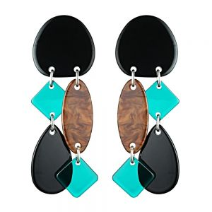 Statement Fashion Jewellery: Green and Tiger's Eye Tone Drop Earrings with Geometric Shapes