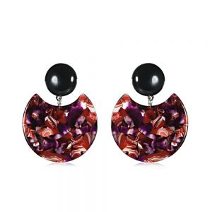 Statement Fashion Jewellery: Unusual Red and White Marbled Rounded Earrings
