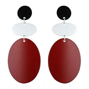 Statement Fashion Jewellery: Drop Earrings with Matt Silver, Red and Black Flat Ovals