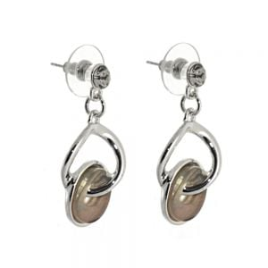 Beautiful Fashion Jewellery: Subtly Shimmery Champagne Tone and Silver Twisted Linked Circles Earrings