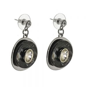 Statement Fashion Jewellery: Chunky Earrings with Layered Concave Circles and Gems in Marbled Blackand Clear Crystal