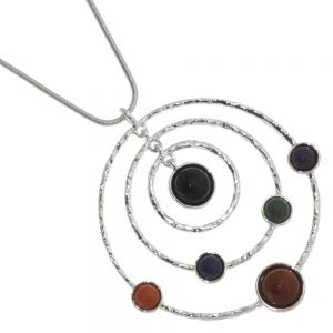 Statement Fashion Jewellery: Concentric Circles Pendant with Red, Orange. Blue, Green, Purple Stones on Long 30