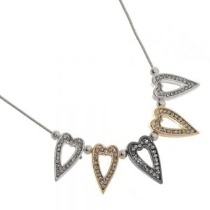 Beautiful Fashion Jewellery: Silver Necklace with Multi-Tone Crystal-Embellished Heart Pendants
