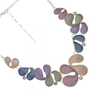 Fabulous Statement Fashion Jewellery: Abstract Necklace with Chunky Swirling Peach, Pink, Blue, Green and Purple Shapes