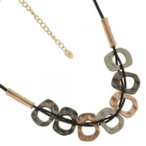 Stunning Fashion Jewellery: Short Grey Cord Necklace with Hammered Matt Rose Gold and Black Hematite Rounded Shapes
