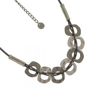 Stunning Fashion Jewellery: Short Grey Cord Necklace with Hammered Matt Silver and Black Hematite Rounded Shapes